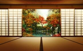 Обои двери, осень, япония