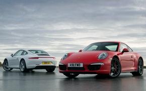 Картинка белый, небо, красный, 911, Porsche, Порше, Carrera, Карерра, 991