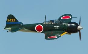Картинка истребитель, Mitsubishi, японский, палубный, лёгкий, A6M3 Zero