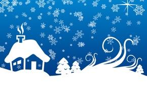 Картинка снежинки, синий, дом, новый год