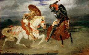 Картинка Париж, масло, картина, Лувр, холст, французский живописец, Рыцарский поединок, Делакруа Эжен