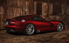 Обои красный, вид сзади, Viper, диски, суперкар, Вайпер, Додж, SRT, Dodge, полумрак, GTS, амбар