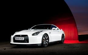 Картинка Nissan, white, GT-R, front