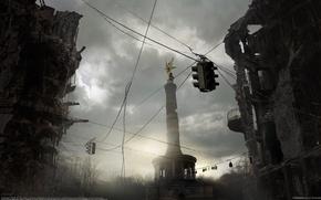 Картинка светофор, памятник, развалины