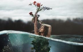 Картинка вода, девушка, цветы