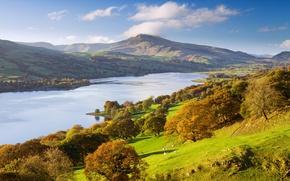 Картинка осень, деревья, парк, река, Великобритания, Exmoor National Park
