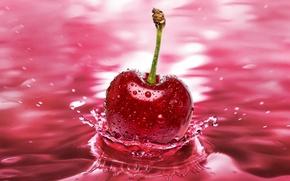 Обои всплеск, вода, черешня, вишня, макро