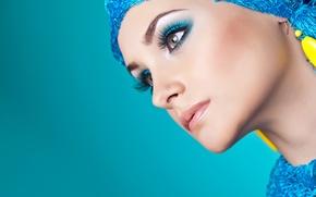 Обои взгляд, ресницы, стиль, фон, серьги, девушка. модель, профиль. макияж