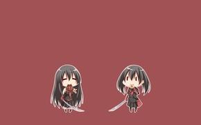Картинка минимализм, chibi, катаны, jaegers, Akame, Akame ga kill, Kurome, убийца Акаме, night raid