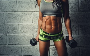 Обои bodybuilder, female, abs, fitness