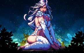 Картинка грудь, девушка, волосы, аниме, арт, crystal blue