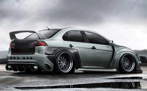 Обои графика, машина, скорость, Mitsubishi, car, Lancer