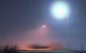 Обои освещение, туман, Фонарь
