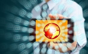 Картинка интернет, земной шар, hi-tech, смартфон