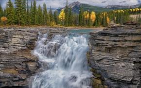 Картинка осень, лес, горы, река, водопад