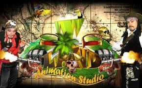 Картинка пальма, птица, остров, череп, карта, позитив, выстрел, Пираты, попугай, шоу, пушка, сундук, актеры, тукан, хорошее ...