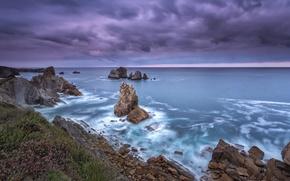 Картинка море, небо, скалы, выдержка, провинция, Кантабрия, северная Испания