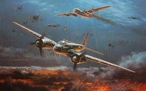 Картинка самолет, painting, Junkers, WW2, Ночной истребитель, aircraft art, Ju 88G, Night Fighter