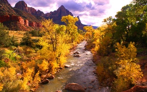 Картинка осень, лес, небо, деревья, горы, тучи, река, камни