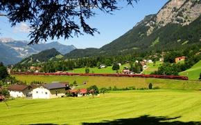 Картинка горы, поля, поезд, Австрия, железная дорога, домики, леса, LBraz