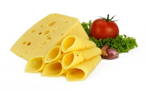 Обои сыр, чеснок, зелень, помидор