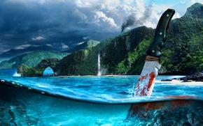 Картинка море, горы, кровь, нож, shooter, Far cry 3