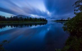 Картинка гладь, отражение, горы, берег, вода, ночь, река, облака, лес, Grand Tetons, природа, Гранд-Титон, деревья, Национальный ...