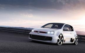 Обои Volkswagen, белый, вечер