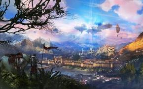 Картинка деревья, пейзаж, город, замок, конь, лошадь, человек, фэнтези, арт, летучий, в небе