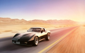 Обои chevrolet, corvette, stingray, black, front, desert, шевроле