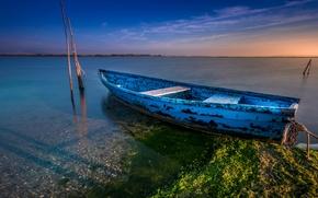 Картинка море, вода, природа, гладь, лодка, Франция