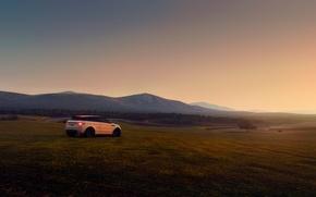 Картинка поле, машина, закат, холмы, Land Rover, Range Rover, Evoque