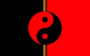 Картинка красное, символы, черное, инь, ян