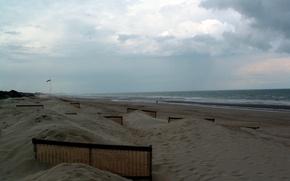 Картинка beach, sea, clouds, sand, vacation, north sea