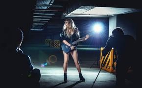 Картинка девушка, гитара, запись, Record