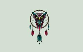 Картинка сова, птица, минимализм, owl, Dreamcatcher, ловец снов