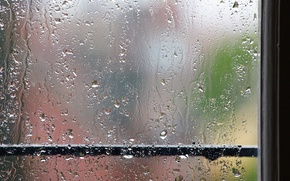 Обои поручень, окно, дождь