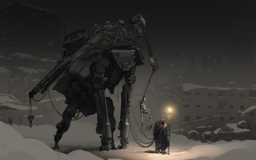Картинка зима, свет, фантастика, человек, робот, вечер, капюшон, путник, post apocalyptic, guide