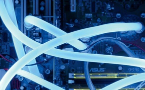 Обои компьютер, синий, подсветка