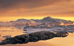 Картинка лед, камни, цвет, Снег