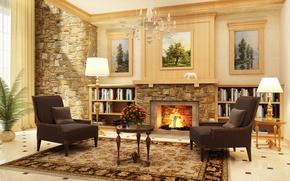 Картинка комната, вилла, интерьер, камин, гостиная