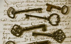 Картинка письмо, ретро, сепия, ключи, винтаж, Vintage