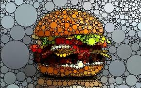 Обои графика, креатив, гамбургер, круги