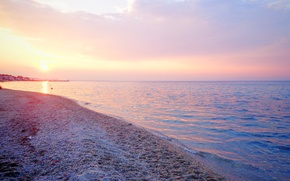 Картинка море, пляж, закат, берег, Греция, beach, sea, sunset, sun, Greece