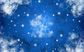 Обои новый год, синий, завитки, узоры, снежинки