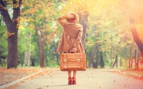 Картинка дорога, осень, девушка, traveling alone