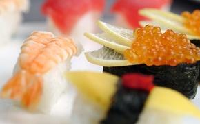 Картинка вкусно, икра, лимон, рис, еда, креветка, суши