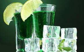 Картинка лимон, лед, бокал, мохито, стакан, напиток, кусочки льда, коктейль, прохлада, лето, лёд, лайм, капли, мята
