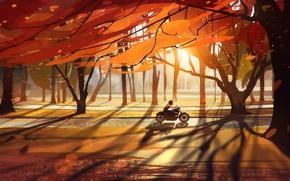 Картинка байк, дорога, деревья, мотоцикл, листья, девушка, осень, лес