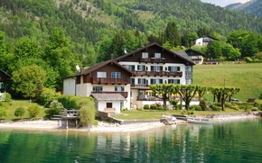 Обои город, фото, побережье, дома, Австрия, особняк, Wolfgangsee
